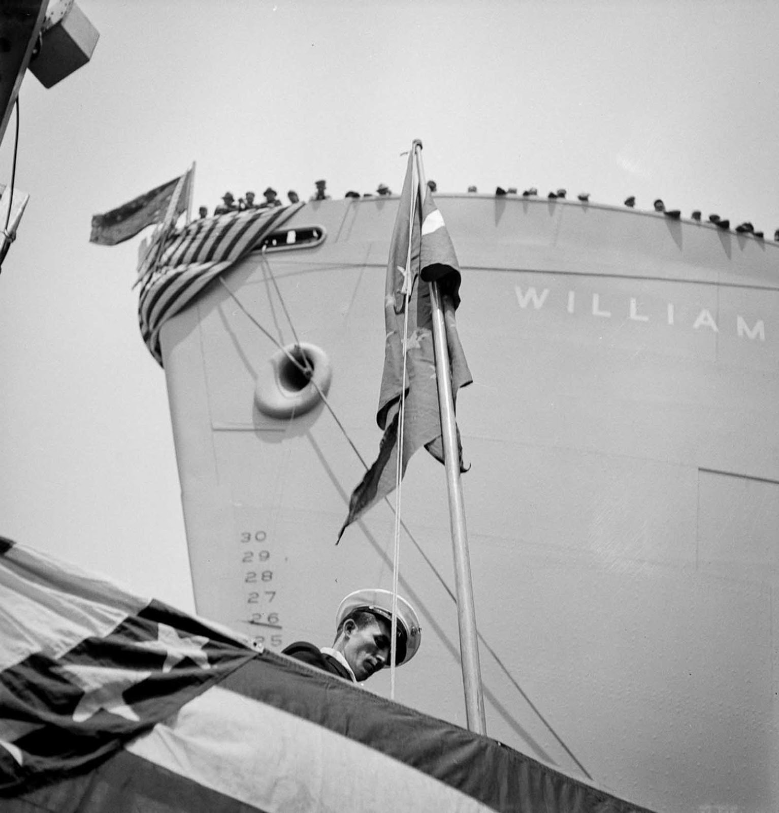 The bow of a vessel just before a launching party.