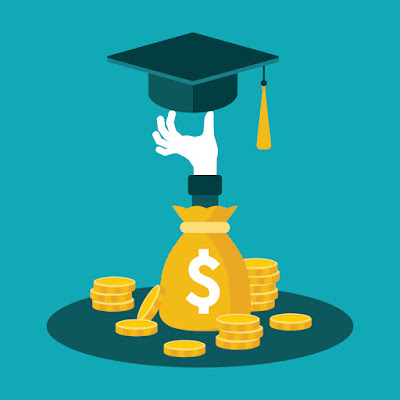 illustration of a hand reaching out of money bag and holding a graduation cap