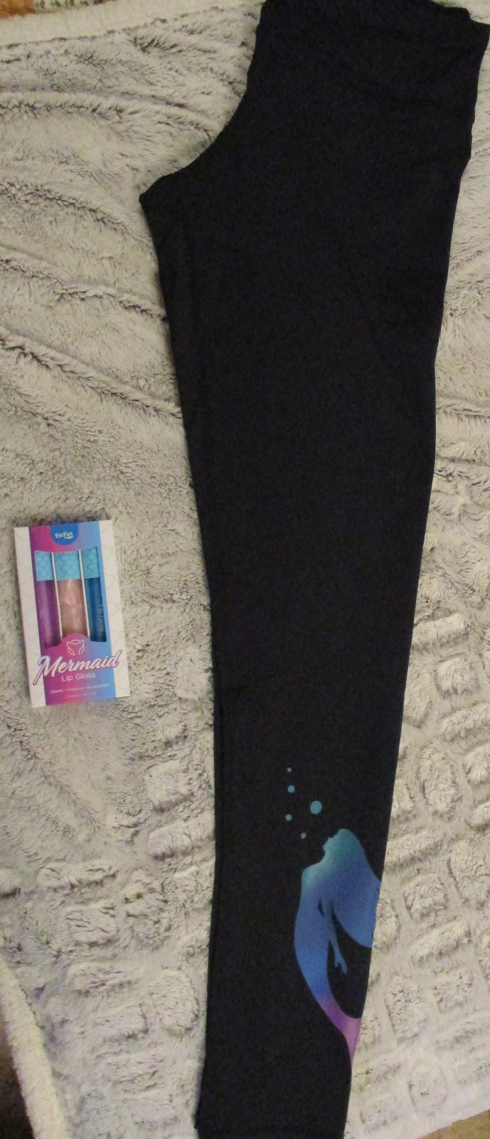 49fae5a8354 Fin Fun Black Mermaid Print Leggings   Mermaid Lip Gloss Set Holiday Gift  Guide 2018