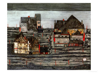 Suburb, by Egon Schiele. Detailed description follows in caption.