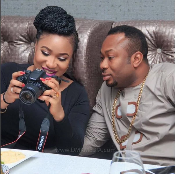 Fans come for Tonto Dikeh's hubby for showing off their son's face