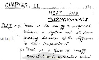 1st Year Physics Chapter 11 Heat and Thermodynamics Notes pdf