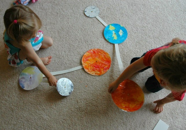 sun, earth, and moon outer space craft for kids