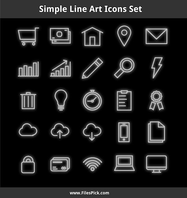 simple neon line art vector icons
