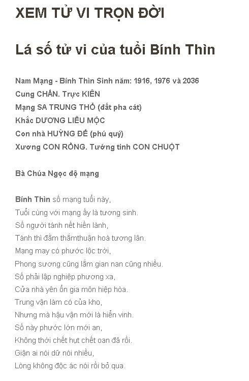 TU VI TRON DOI BINH THIN 1976