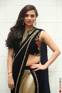 Priyanka Ramana in Beautiful Designer Black Saree At We Craft Elegance Expo Launch 025.JPG