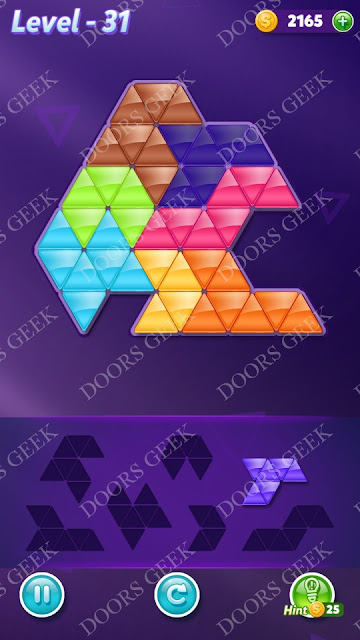 Block! Triangle Puzzle Advanced Level 31 Solution, Cheats, Walkthrough for Android, iPhone, iPad and iPod