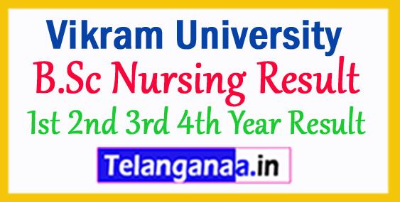 Vikram University B.Sc Nursing Result 2018 1st 2nd 3rd 4th Year Result