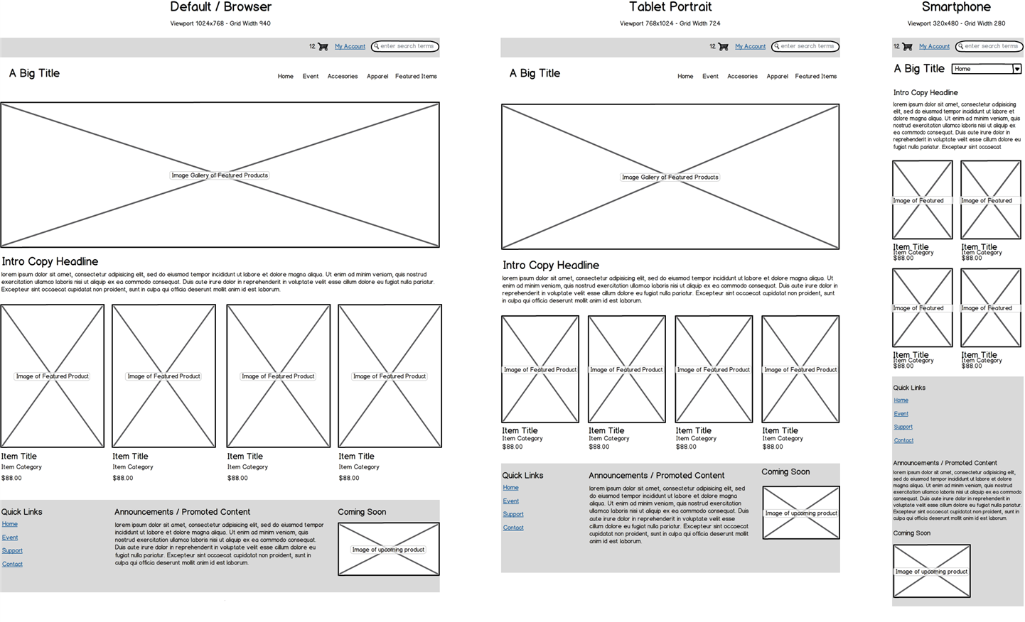 Wireframe Design - Estylen Services - E-Commerce