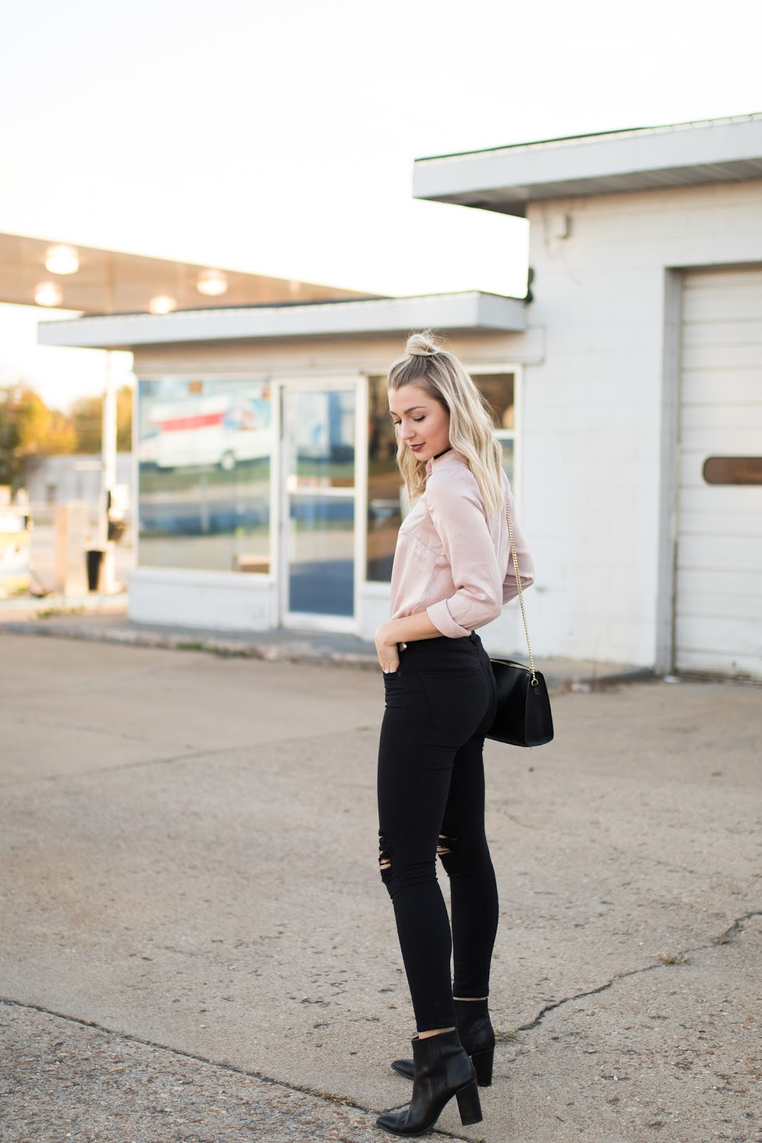 Blush pink top paired with black