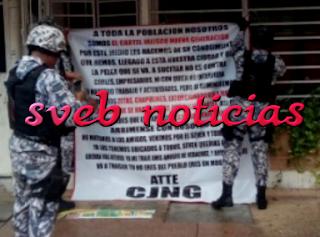 CJNG deja narcomantas en Acayucan Veracruz este Viernes