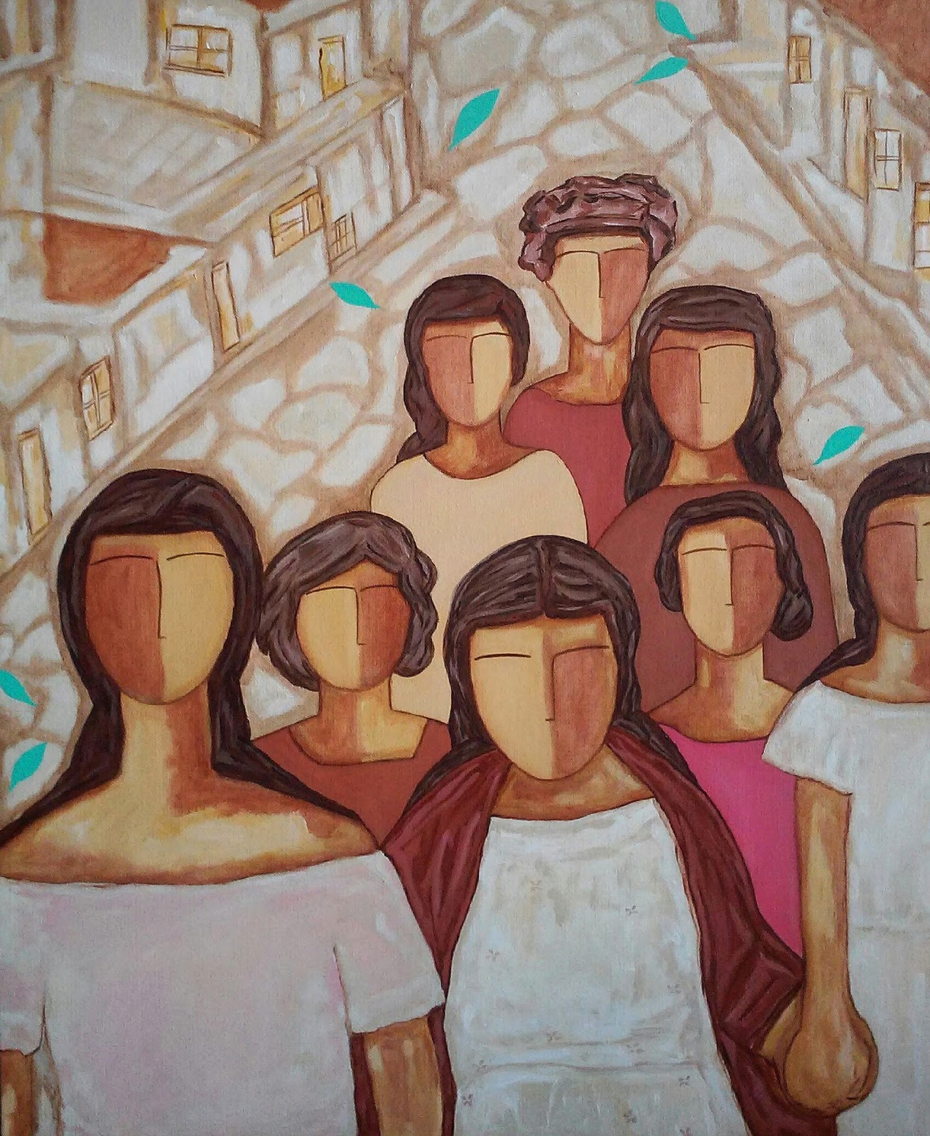 Acrylic Painting on Canvas with people walking by Pilar Vargas