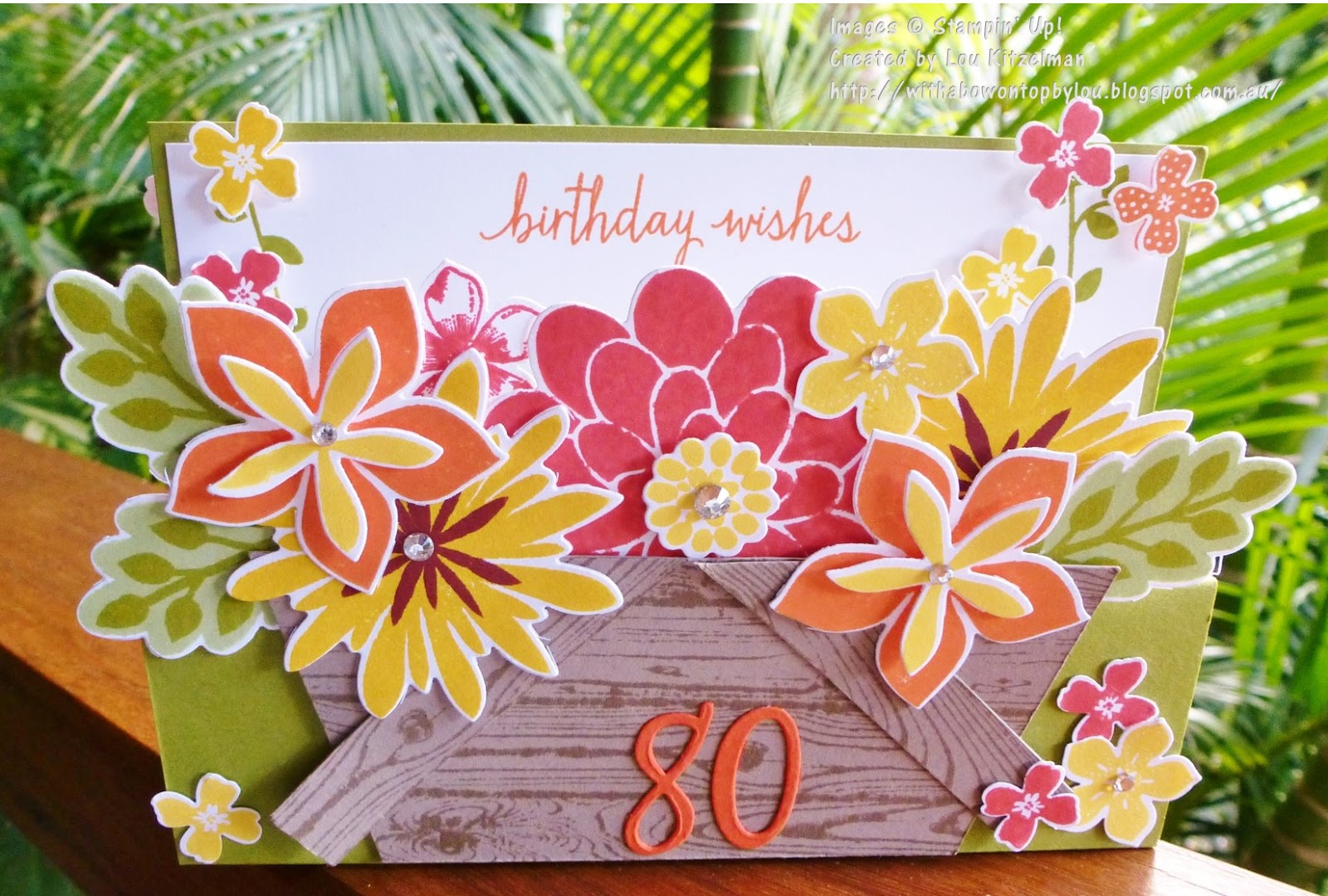 With A Bow On Top Flower Patch Pop Up Step Card