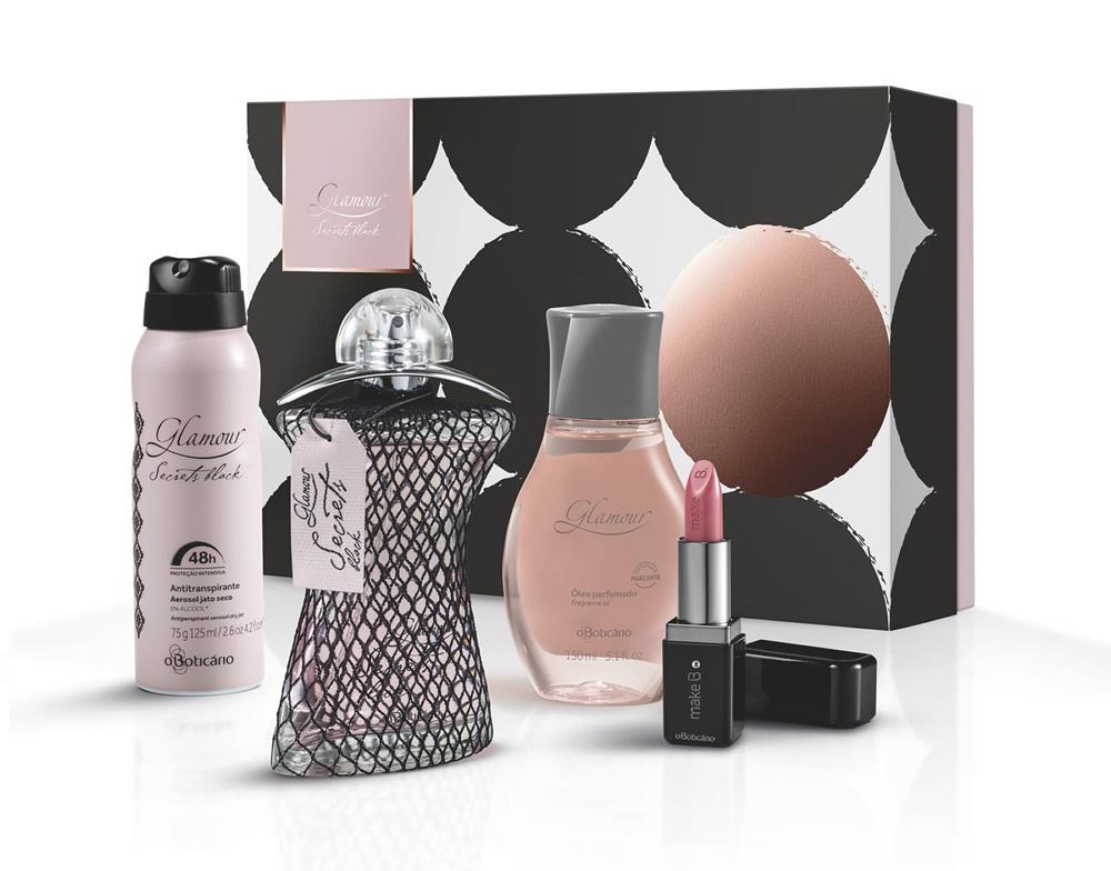Presente Glamour Secrets Black · Glamour Secrets Black Des. Colônia, 75ml ·  Óleo Perfumado Des. Corporal, 150ml · Make B Batom Perfeito Cremoso Rosa ... b2936cdee9