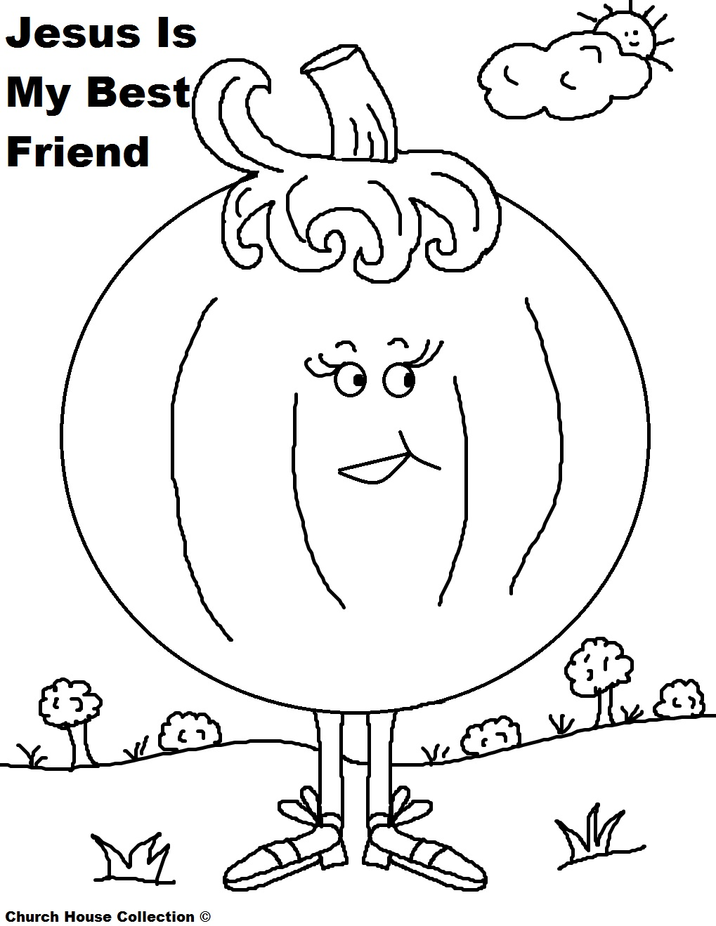 free printable pumpkin coloring pages for sunday school childrens church or at home with and without words jesus is my best friend