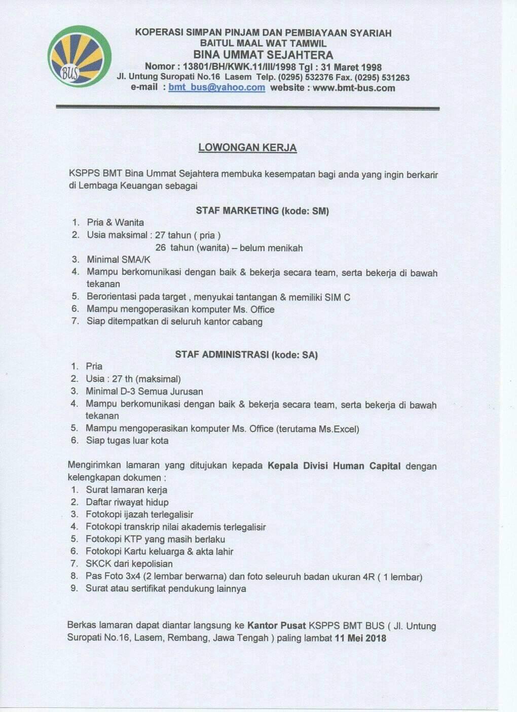 Informasi Lowongan Kerja Staf Marketing, Staf Administrasi di KSPPS Bina Ummat Sejahtera Pati
