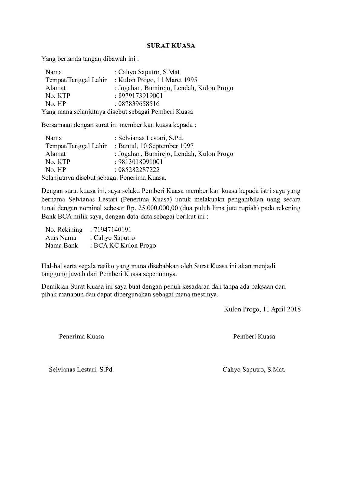 contoh surat kuasa pengambilan uang di bank BNI, Mandiri, BCA, BRI