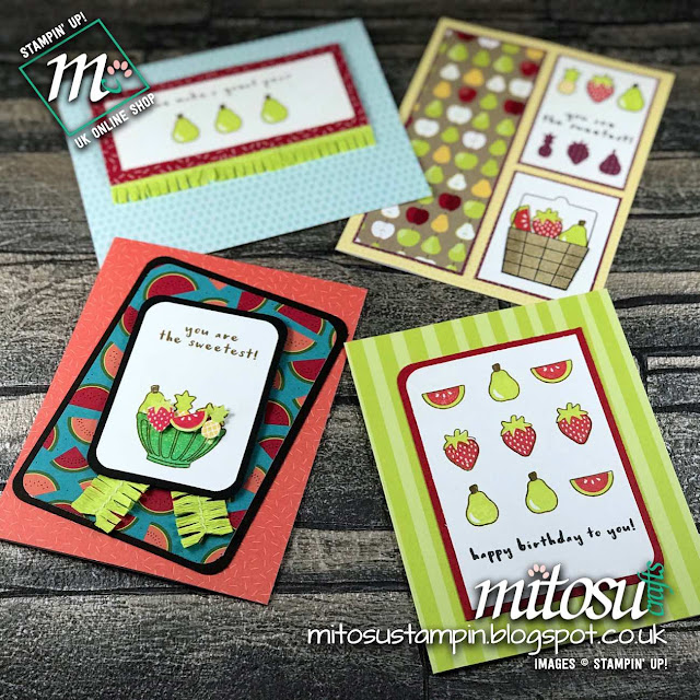 Set of Cards with Tutti-Frutti Suite by Stampin' Up! Order from Mitosu Crafts UK Online Shop