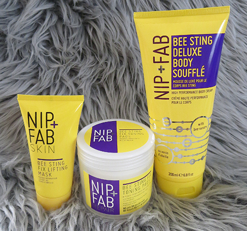 Nip + Fab Bee Sting Fix ~ #Review, Nip + Fab Bee Sting Fix Toning pads , Nip + Fab Bee Sting Fix lifting mask, Nip + Fab Bee Sting Deluxe Body Souffle