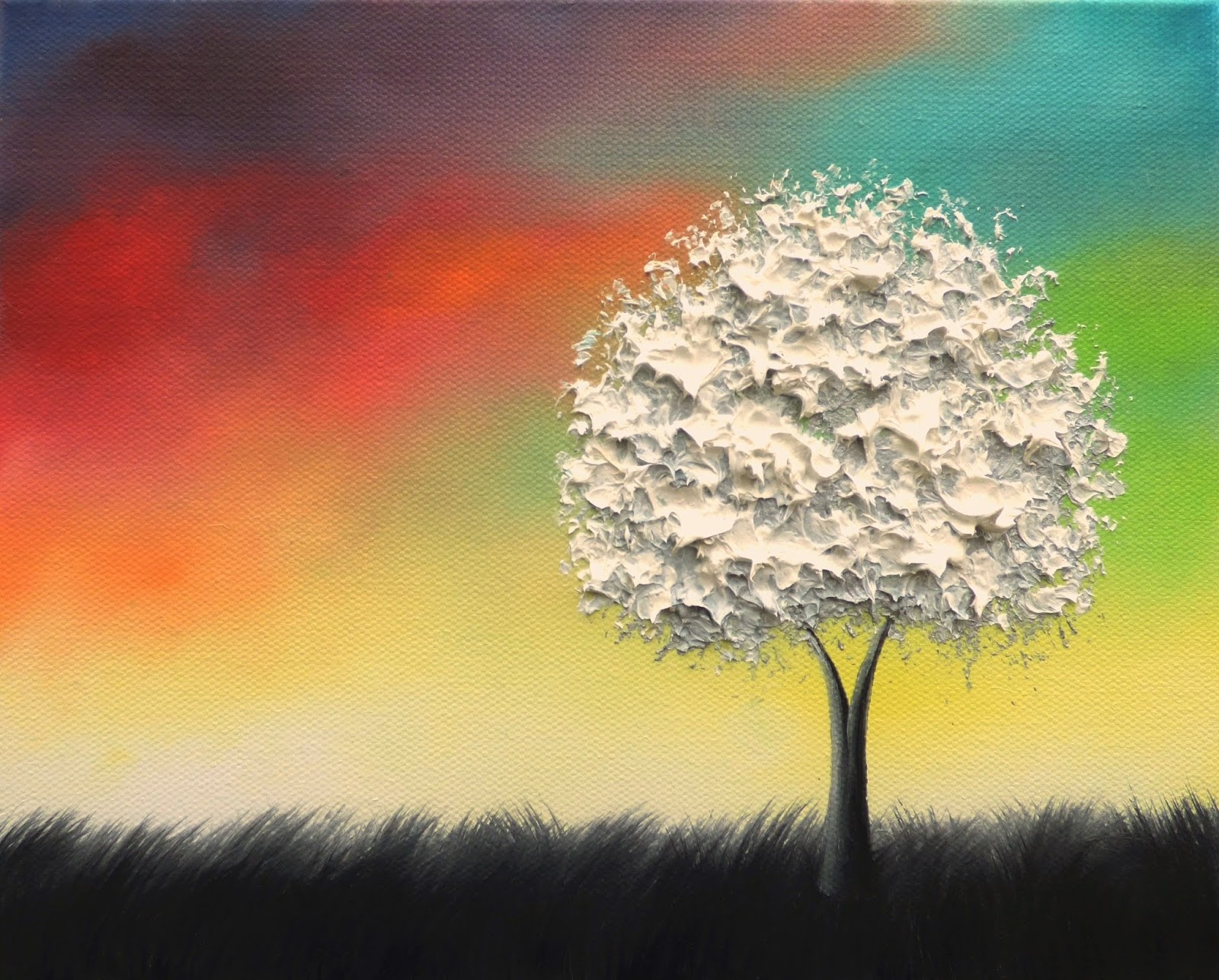 Contemporary White Tree Oil Painting, Original Canvas Art, Colorful ...