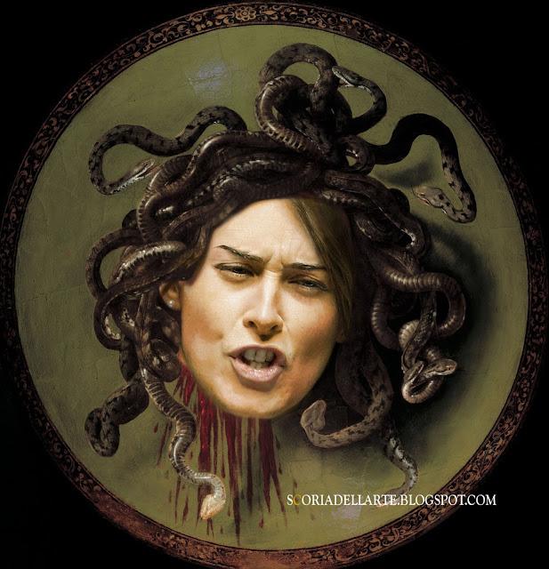 fotomontaggio Maria Elena Boschi-Medusa di Caravaggio