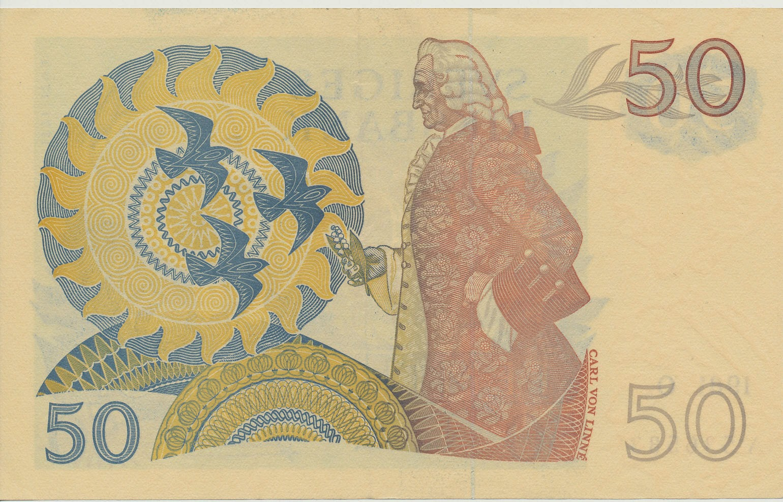 Sweden Currency 50 Swedish Krona banknote 1981 Carl Linnaeus