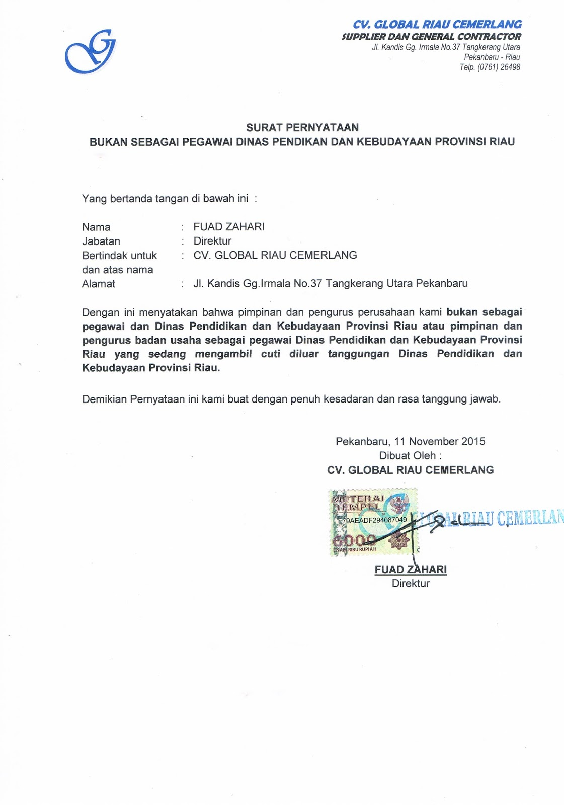 Contoh Surat Pernyataan Nihil Pajak Badan Download Gambar Online