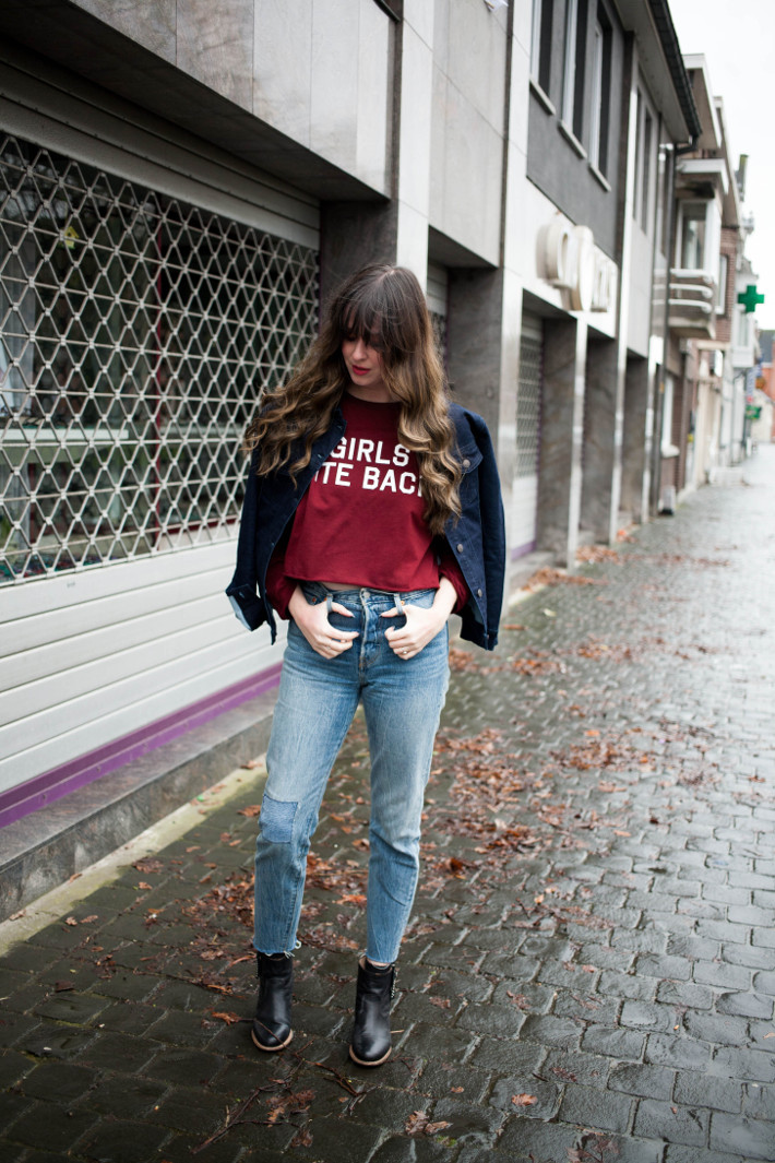 girls bite back sweater and levi's wedgie fit joshua tree jeans