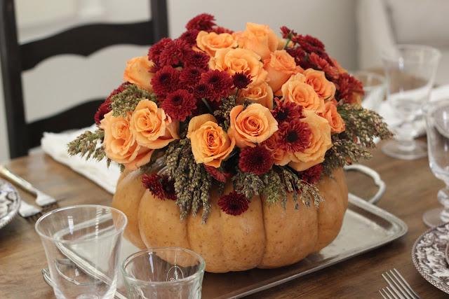 jenny steffens hobick diy thanksgiving centerpiece roses mums