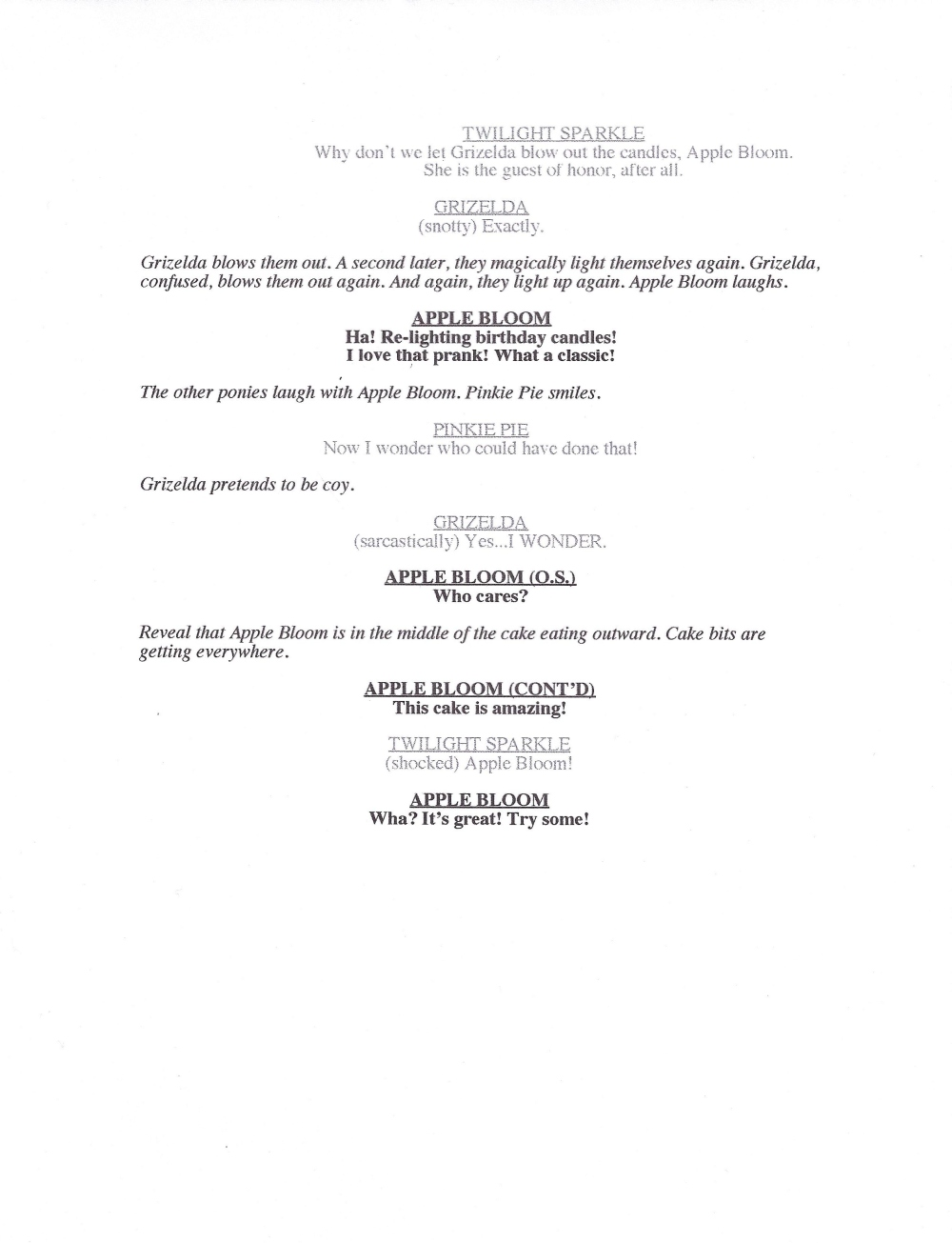 Food commercial scripts to use for auditions