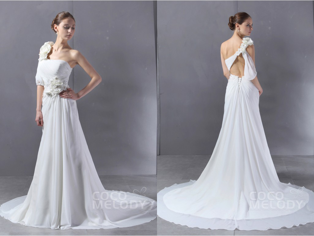One shoulder backless wedding dress from cocomeldoy