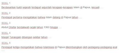 Contoh Soal Kerajaan Islam di Papua