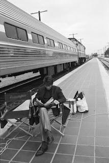 Un descanso durante el rodaje de Rain Man