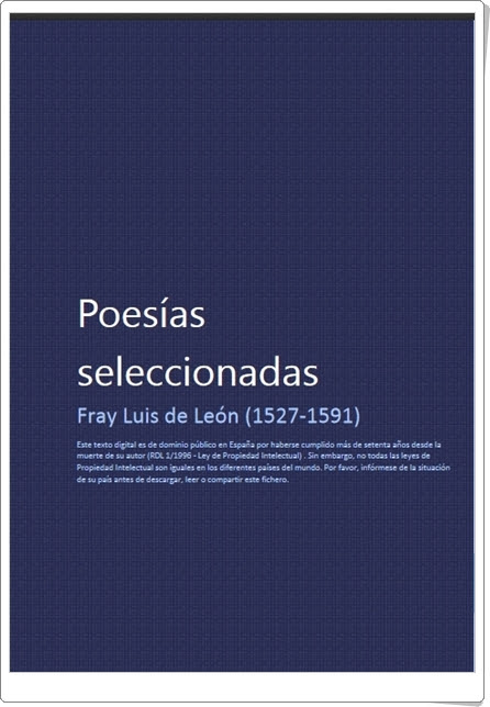 """Poesías seleccionadas"" de Fray Luis de León"