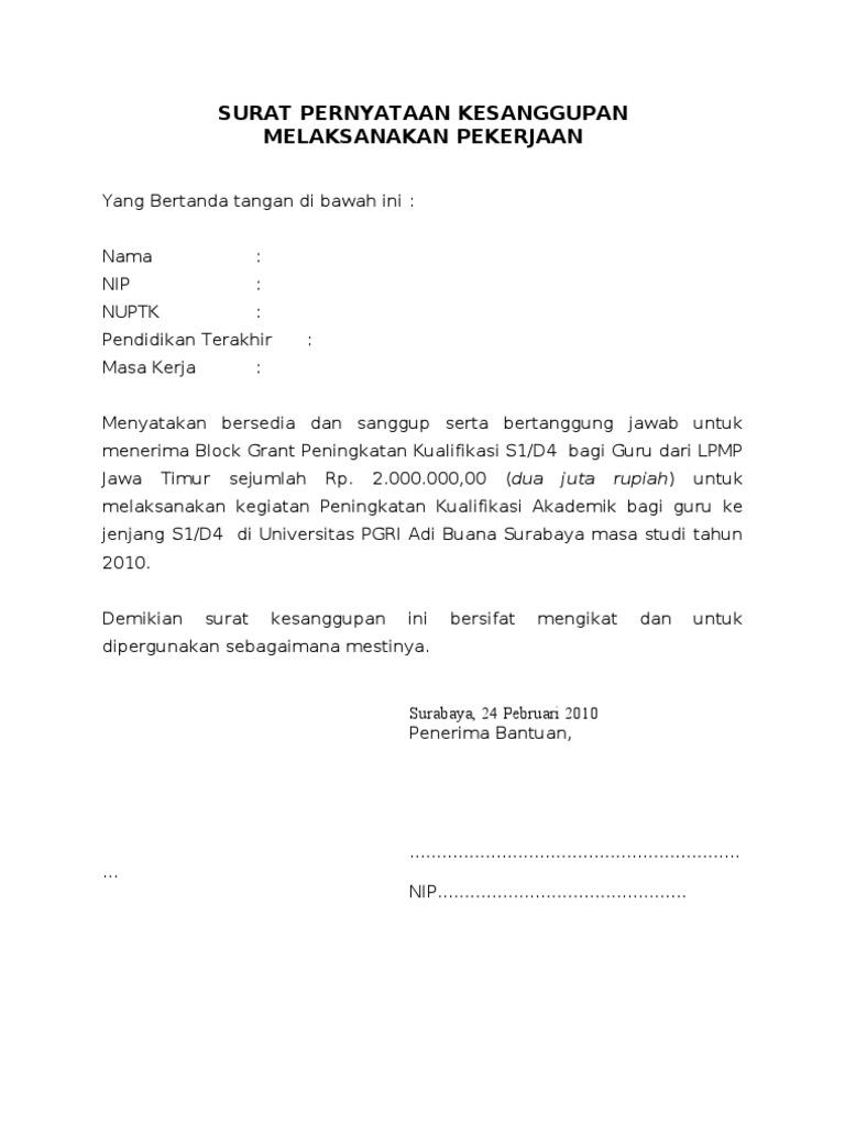 surat pernyataan kesanggupan melaksanakan pekerjaan