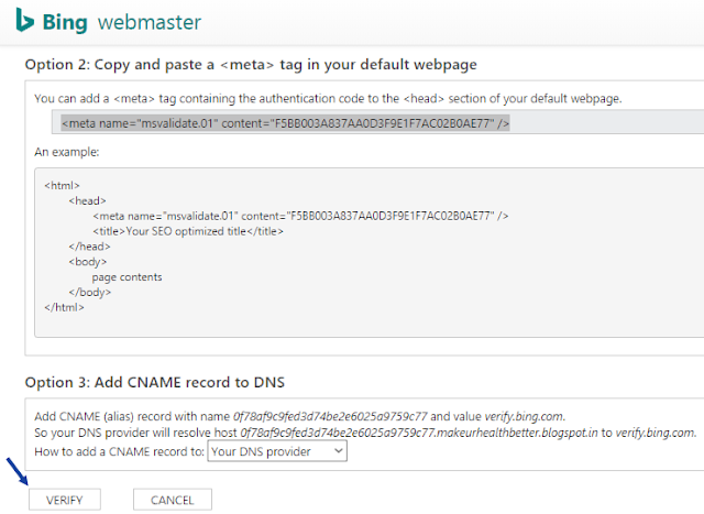 Verifying new blog in bing webmaster tools