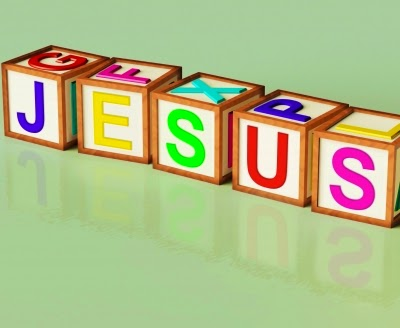 "wooden blocks spelling ""Jesus"""