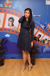 Actress Mannara Chopra Stills in Blue Short Dress at Rogue Song Launch at Radio City 91.1 FM  0080.jpg