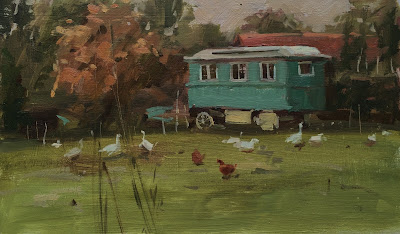 Shepherds hut and geese