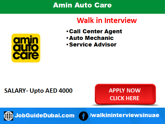 Amin Auto Care career for auto technician, service advisor and Telecalling job in Dubai