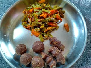 Sorghum sweet dumplings, Cluster beans Carrot masala