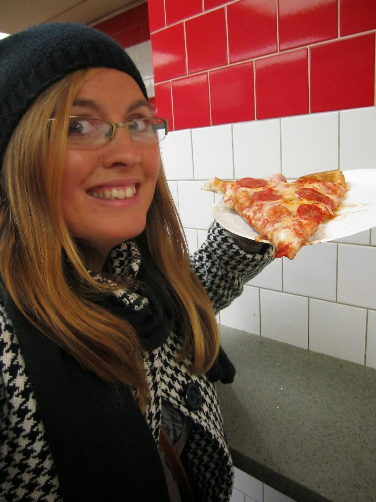 new york city, woman smiling, pizza