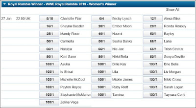 William Hill Women's Royal Rumble 2019 Betting Odds