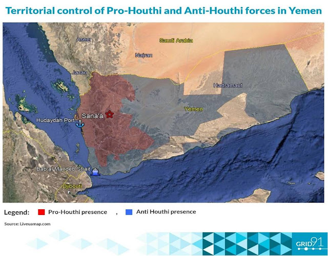 Territorial control of Pro-Houthi and Anti-Houthi forces in Yemen