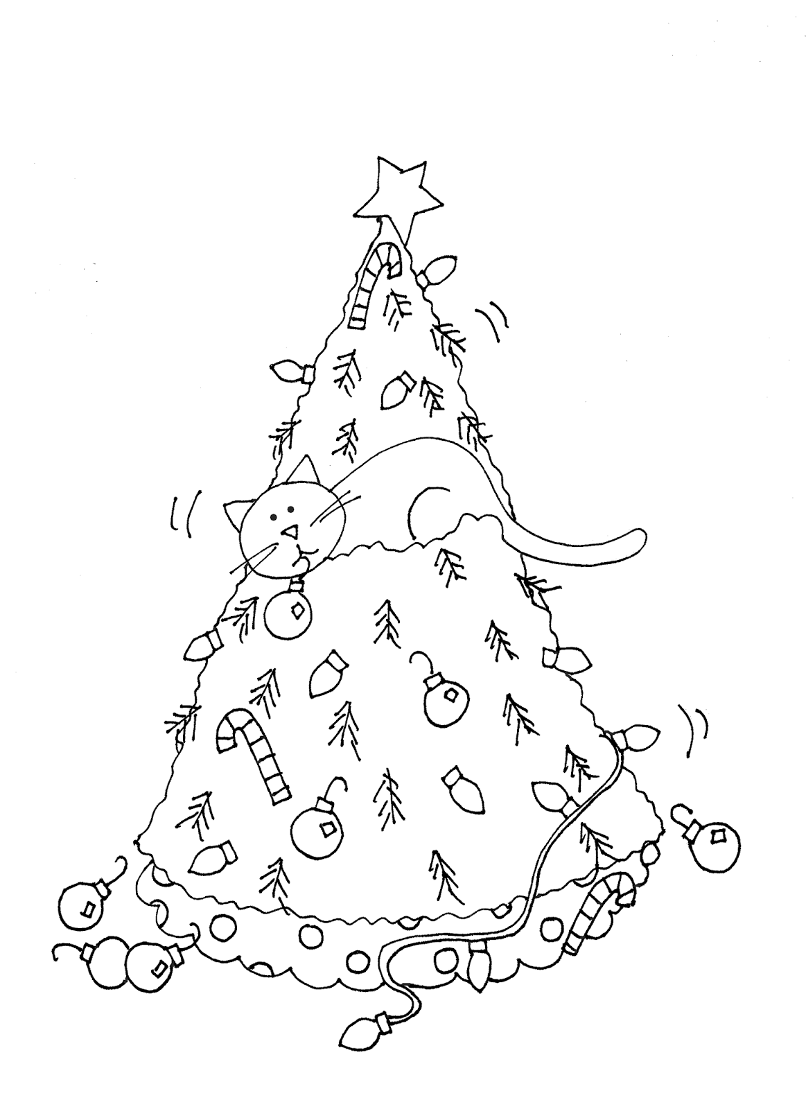 Free Dearie Dolls Digi Stamps: The Cat and the Christmas Tree