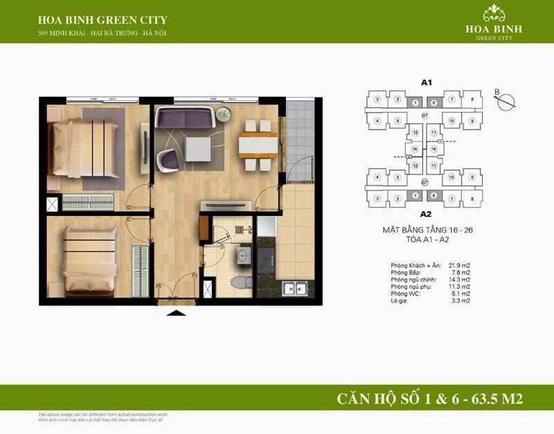 căn số 01 - 06 ( 63,6m2 ) chung cư Hòa Bình Green City