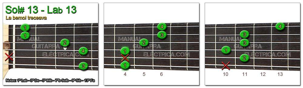 Acordes Guitarra La Bemol treceava