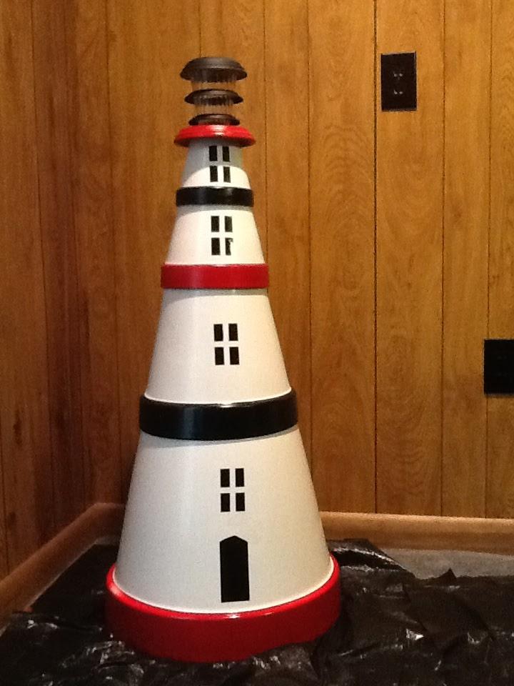 clay pot lighthouse, diy flower pot lighthouse, plant container lighthouse, cat pot lighthouse, on plant pot lighthouse