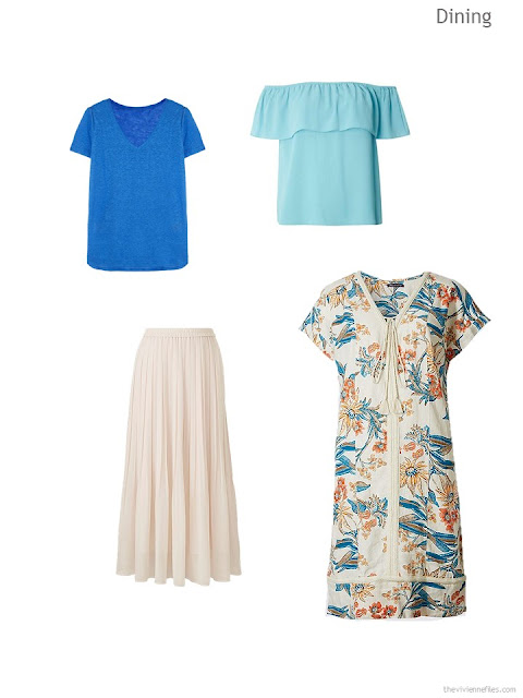 a dressy warm-weather wardrobe cluster in tan, aqua and blue