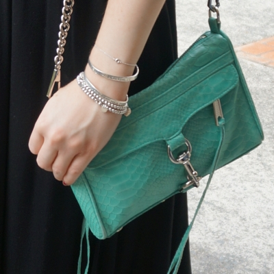 black maxi dress, Rebecca Minkoff mini MAC in aquamarine with python embossed leather | AwayFromTheBlue